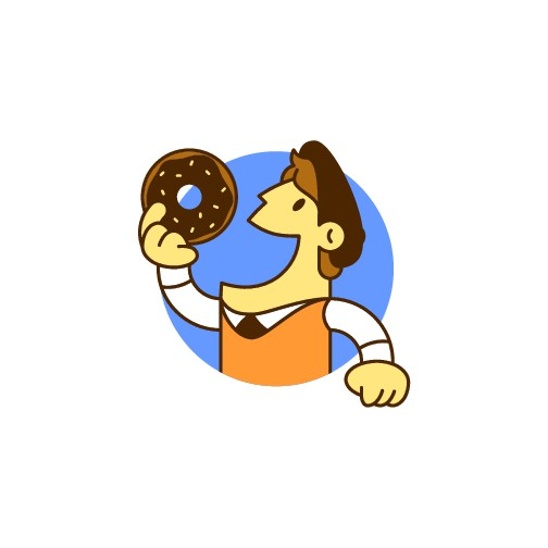 Donut shop logo including character/mascot with vintage look