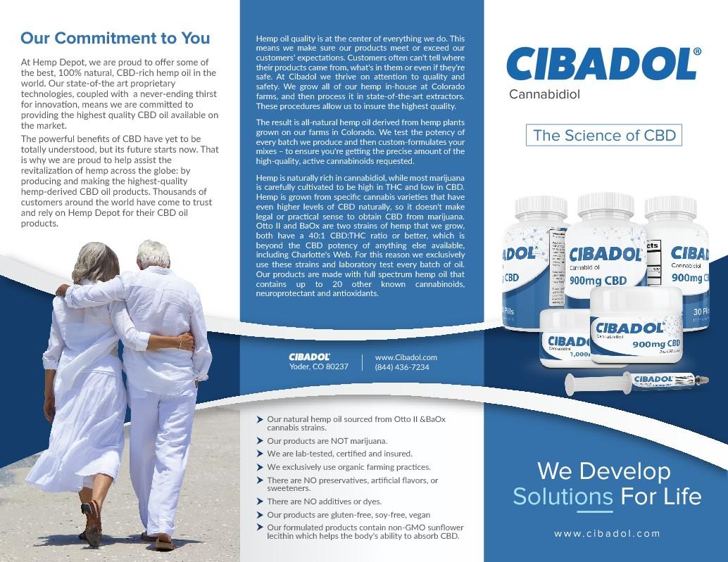 Create a brochure for Cibadol - High CBD Hemp  Oil Products