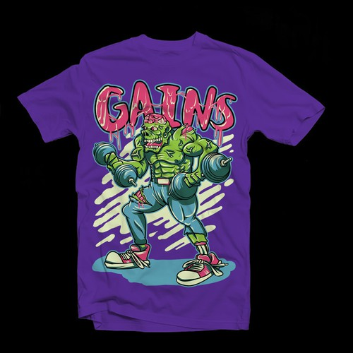 Gains t-shirt artwork Fitness Halloween Zombies