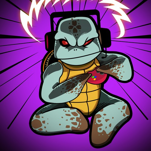 Gamer Turtle Illustration