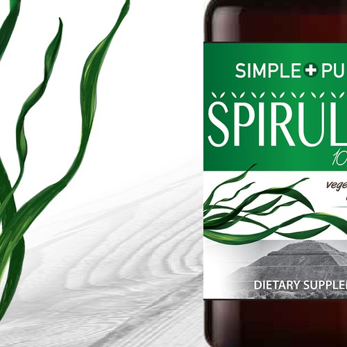Simple and Pure spirulina tablets label design