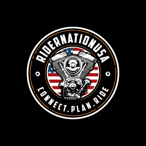 Logo for motorcycle enthusiasts. Plan travel, book a hotel, parts, repair, groups, rides, directions, meet-ups.