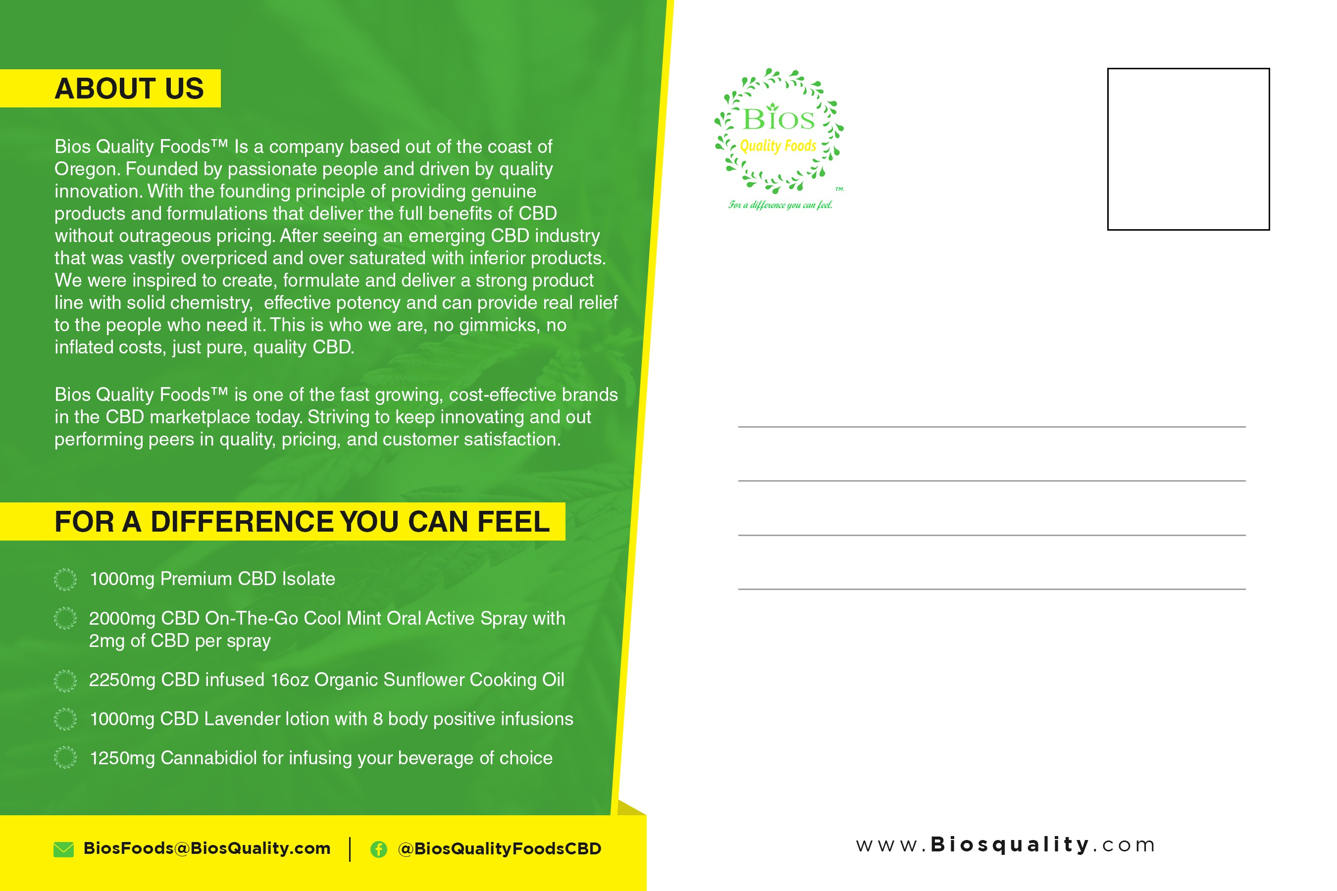 Design a Creative Cannabidiol(CBD) 6x9' Postcard ad