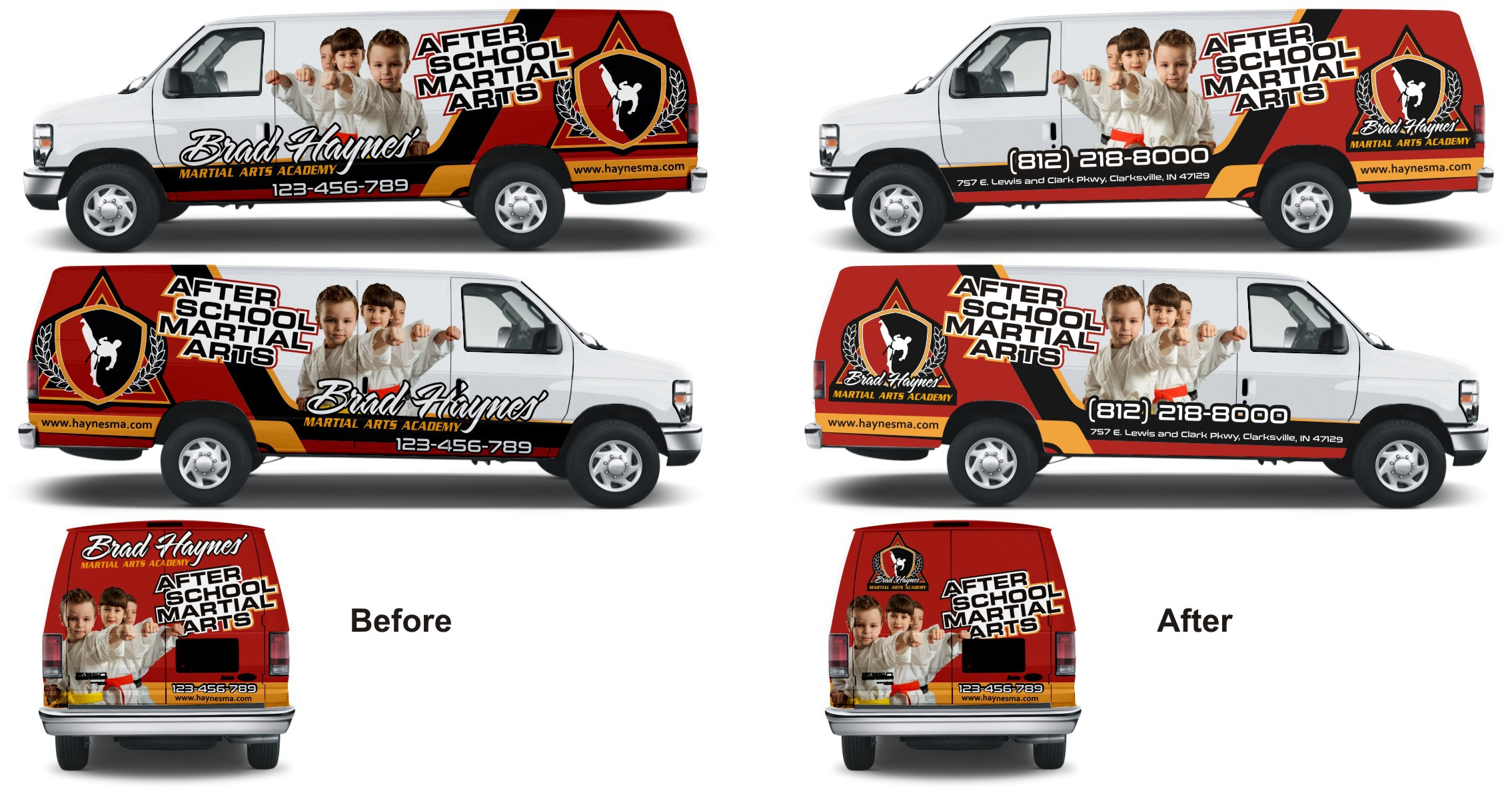 Design an exciting vehicle wrap for a martial art based after school program