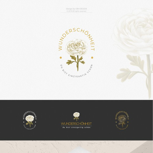 Unique and modern flower logo (ranunculus) for a fashion and (life-)style start up.