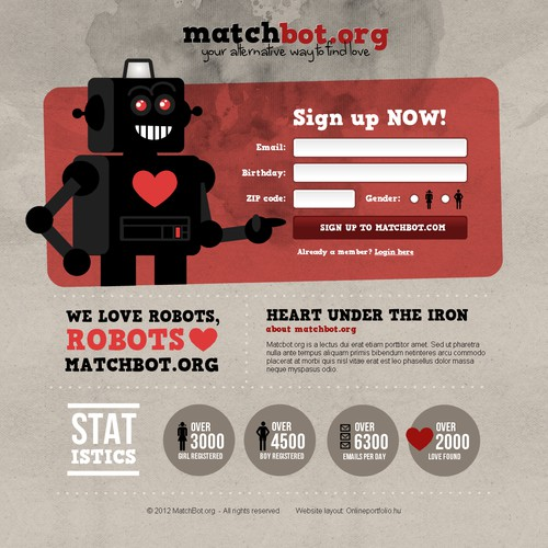 Signup page for Matchbot.org