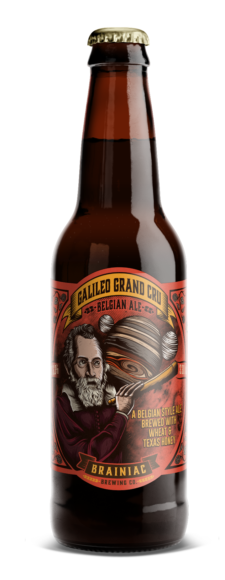 Design an eye-catching and intriguing beer label for Brainiac Brewing Co.