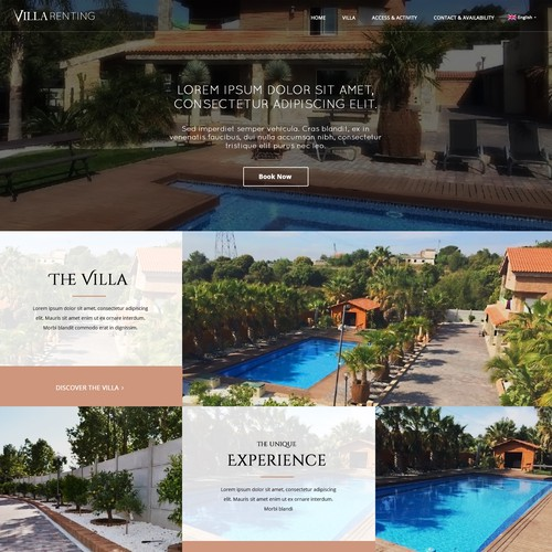 Villa Renting Webdesign