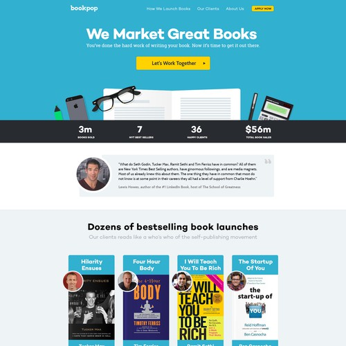 Create a Clean, Modern Landing Page for a Book Marketing Company