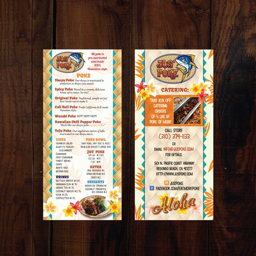 Hawaiian to go menu for Jus' Poke