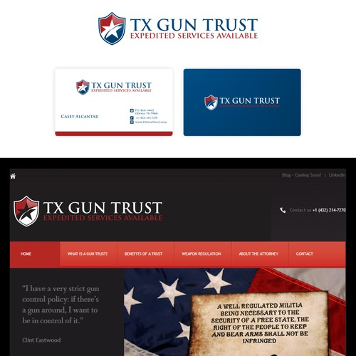 logo and business card for TX Gun Trust