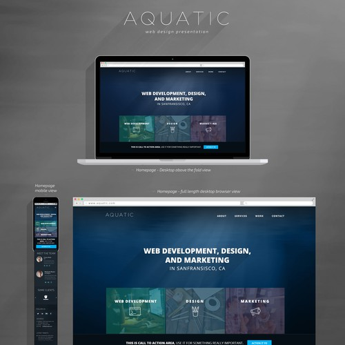 Create a website for Aquatic, a brand new development studio!