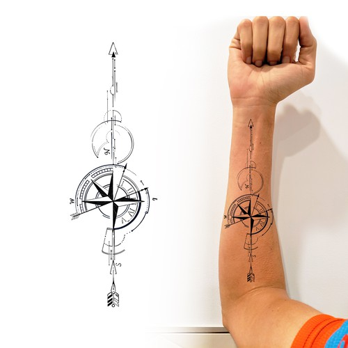 Arrow Compass Clock Tattoo