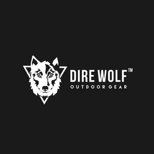 bold and confident logo concept for dire wolf
