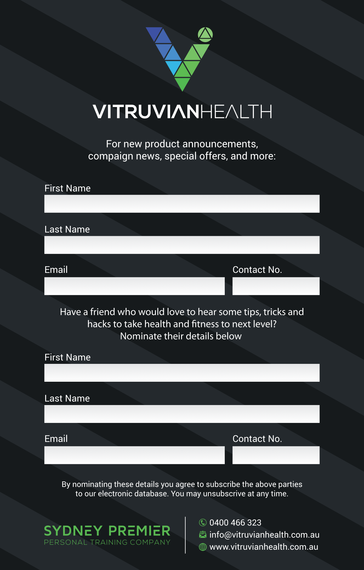Vitruvian Health business promo kit project  (leaflet data collector)