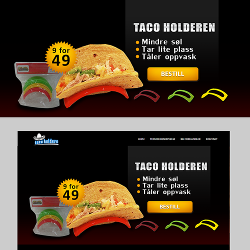 Web page slideshow banner for Taco Holders