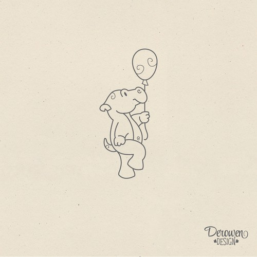 Cute hippo with balloon
