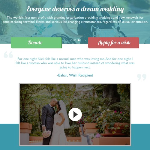 Wish Upon A Wedding; Homepage Design
