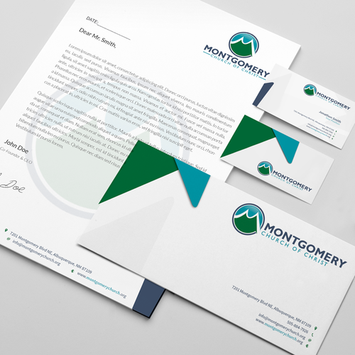 Use our new logo to create identity pack for church relaunch (business card, letterhead, envelopes)