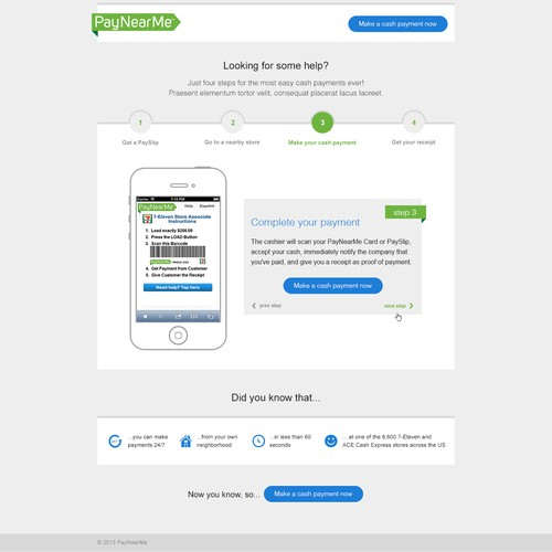 New landing page wanted for PayNearMe