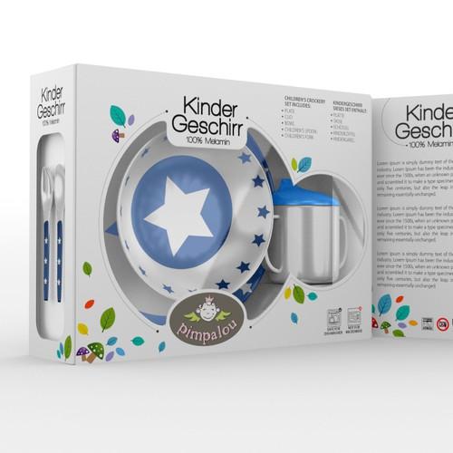 Create a Product Packaging for Kids Tableware/Crockery