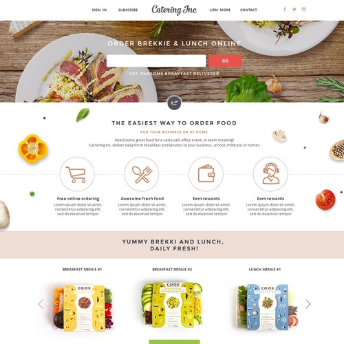 Online ordering for breakfast and lunch