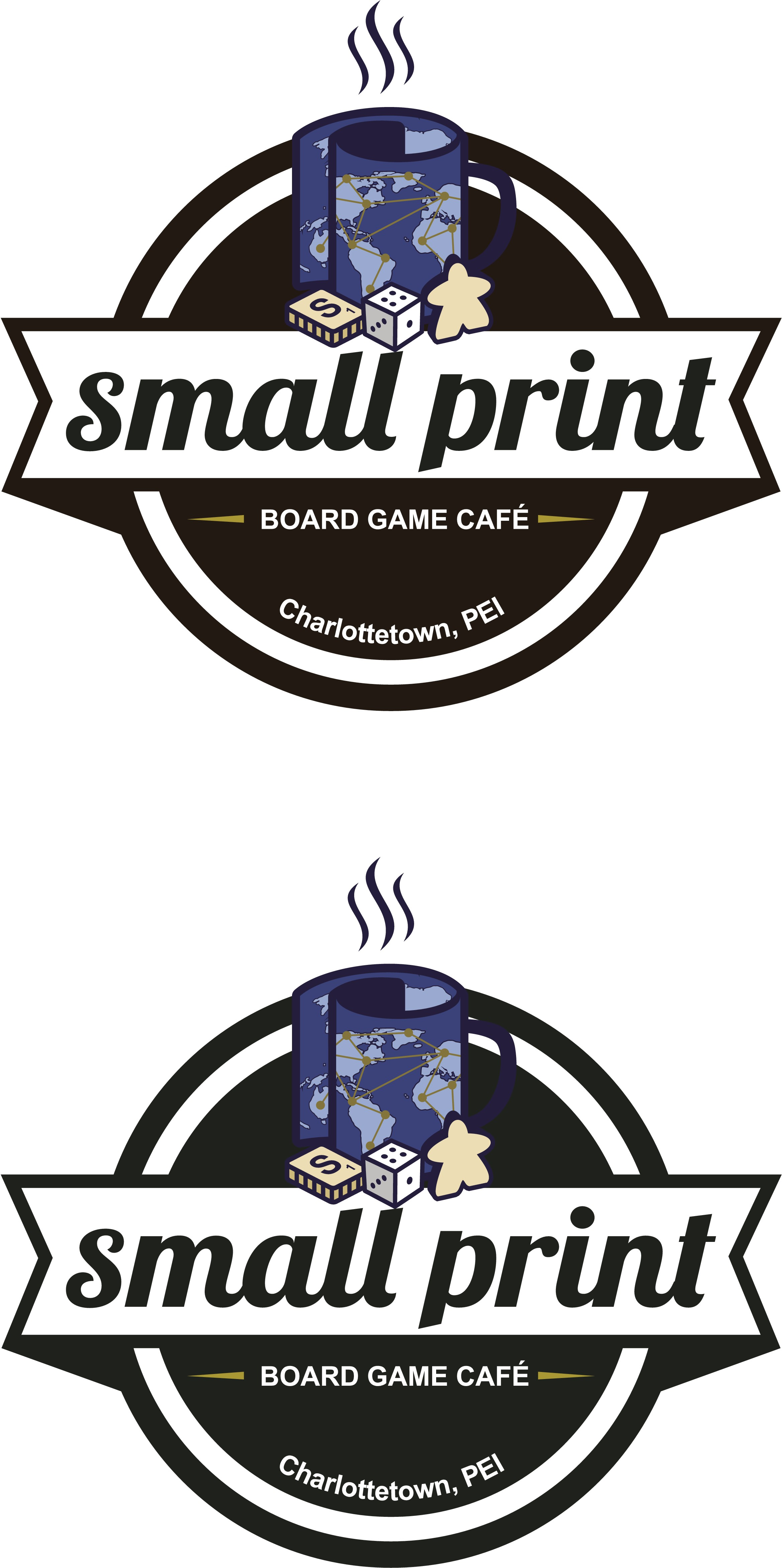 """Create a cool and hip logo for start-up """"small print board game café"""""""