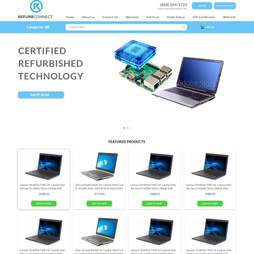 A simple and modern homepage design for an Ecommerce company