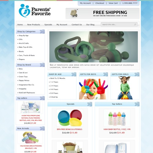Website Design for Ecommerce Business - Baby Products