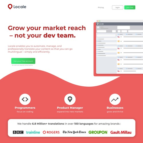 Landing Page concept for Locale