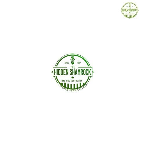 Hidden shamrock vintage logo design
