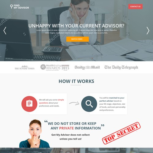 Find My Adviser Landing page design