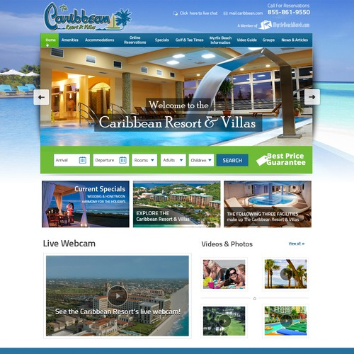Caribbean Oceanfront Resort Web Design - Located in Myrtle Beach