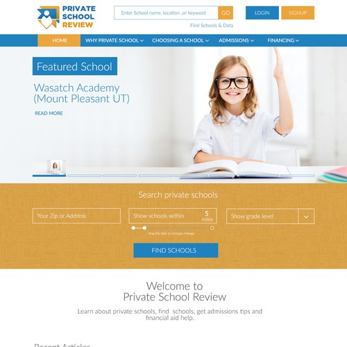 Homepage for School Review