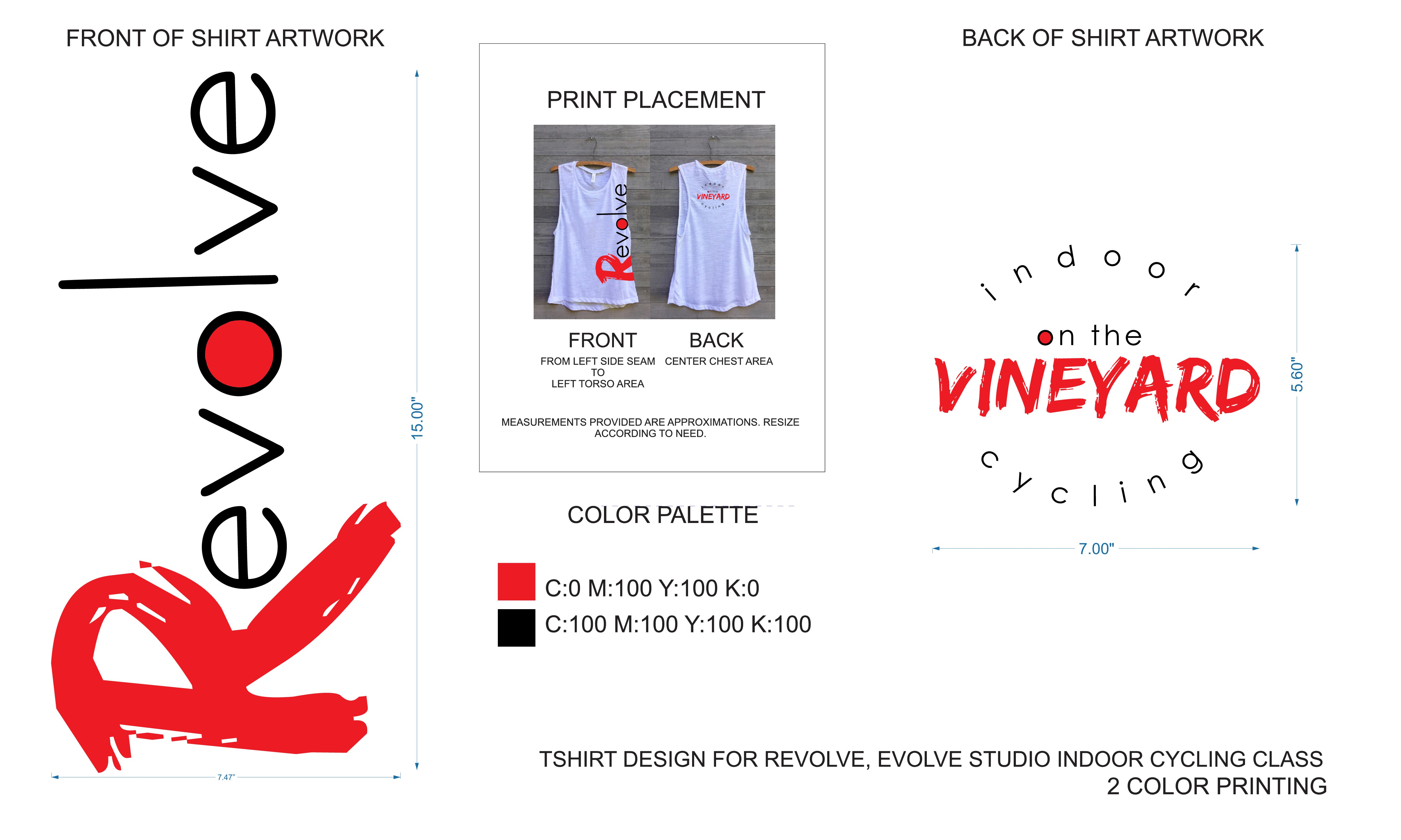 Design a t-shirt for Revolve, Evolve studio's indoor cycling class!
