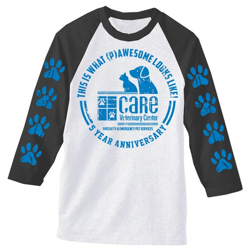 Create a unique company anniversary shirt design for a specialty and emergency animal hospital