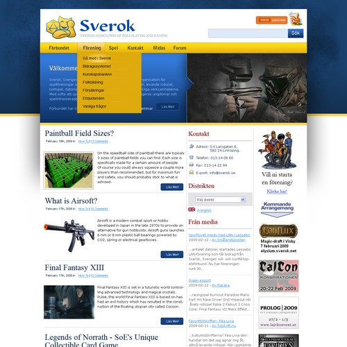 Site Design For a Non Profit Gaming Association