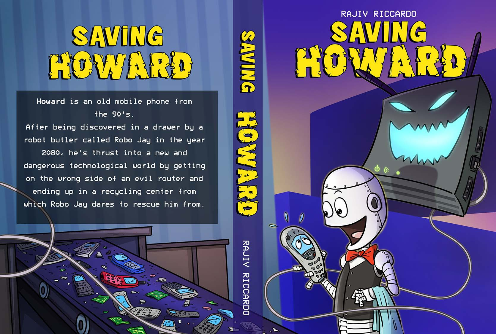 Design a cartoony technology themed book cover for a children's book