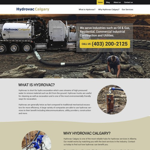 Website design for Hydrovac Calgary