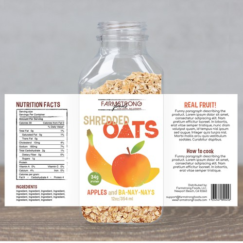 Fun label for health breakfast product