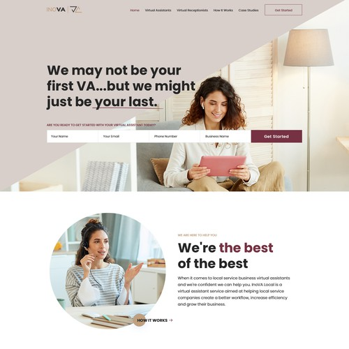 Minimalist yet clear website redesign needed for virtual assistant agency