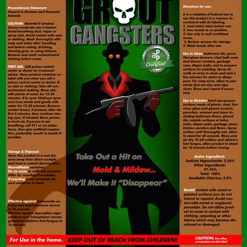 Design The Label For Grout Gangster - Take Out a Hit On Mold & Mildew