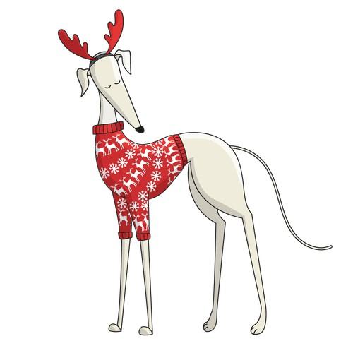 Playful illustration with greyhound