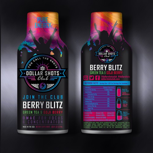 eye-catching energy shot drink label design