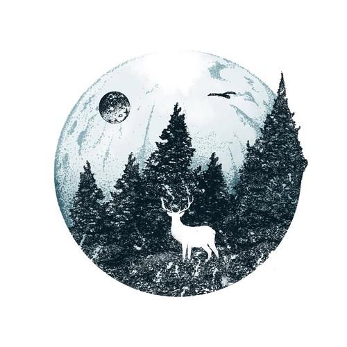 Moon Tattoo Illustration