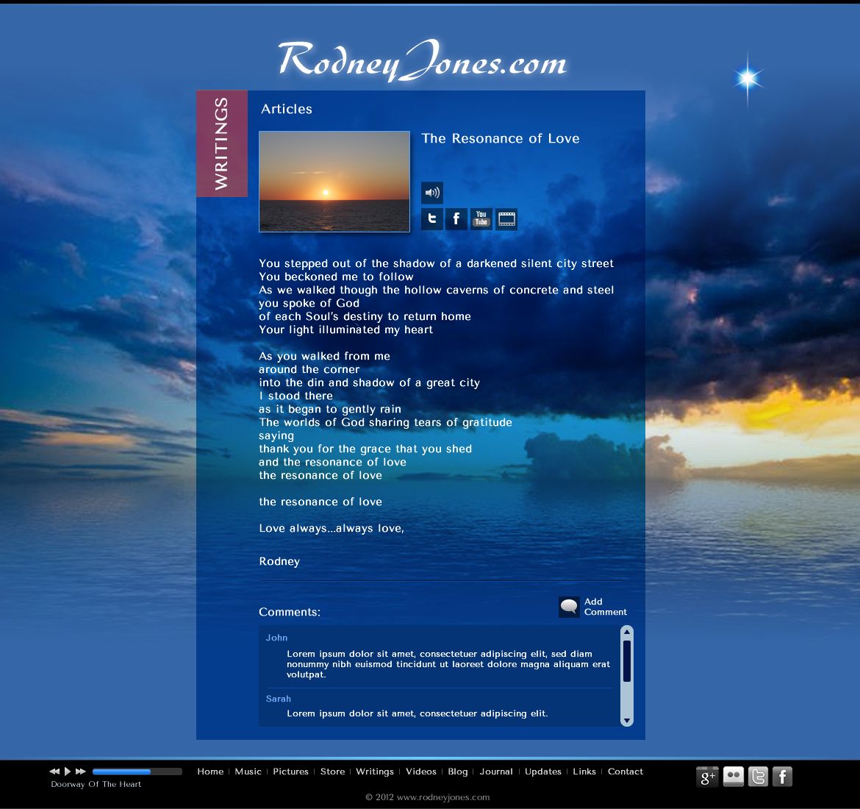 New website design wanted for www.rodneyjones.com