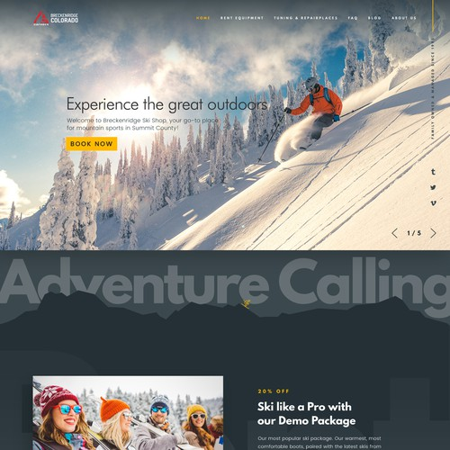 Homepage design for Ski & Board rent and shop firm