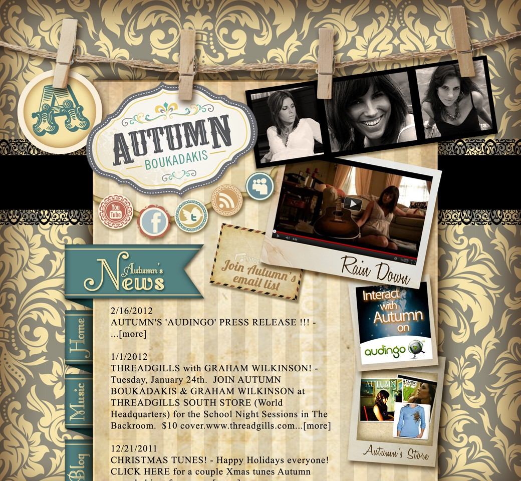 Can you create a VINTAGE SHABBY CHIC WEBSITE for AUSTIN'S FAVORITE SONGSTRESS !??!