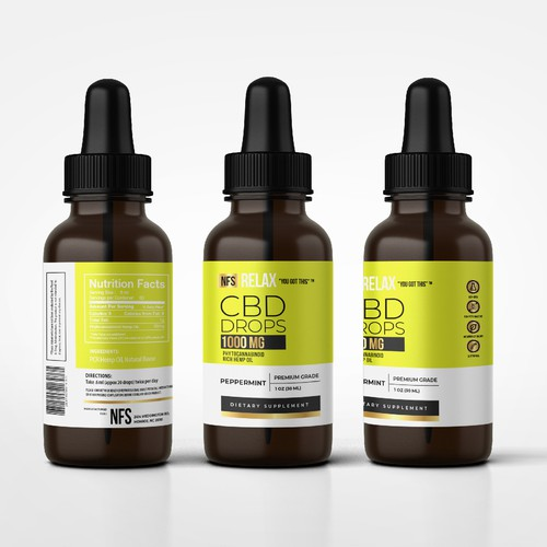 CBD drops label design