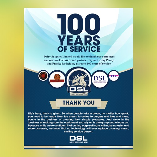 100 YEARS OF SERVICE DSL